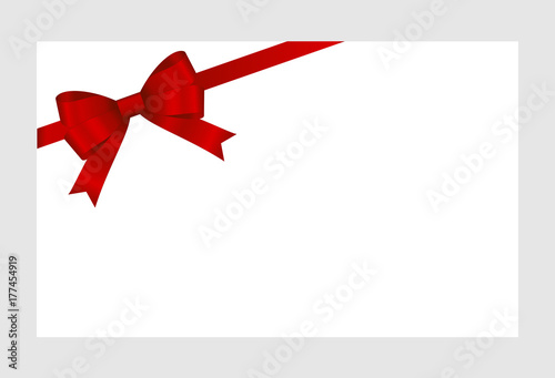 Gift Card With Red Ribbon And A Bow On White Background Gift