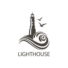 lighthouse icon image with ocean waves and seagulls