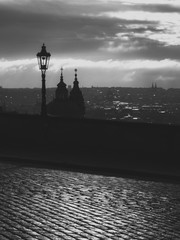Silhouettes of Prague Cityscape on Cloudy Morning