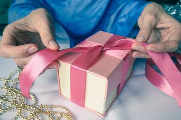 Women's hand made gift box. Holiday package handmade.