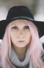 Trendy girl with pink hair