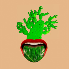 Contemporary art collage tropical mood. Mouth and green. Cactus and palm trends