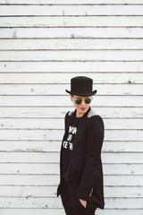 Modern woman wearing black clothes