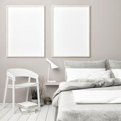 Scandinavian bedroom with mock up posters , 3d render, 3d illustration