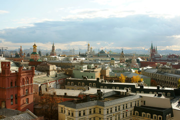 """View of Moscow from the observation platform of the store """"Children's Shop"""", October  2017"""