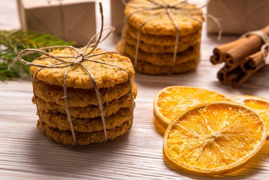 Cinnamon sticks and cookies, Christmas concept