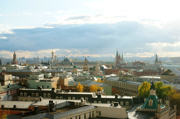 "View of Moscow from the observation platform of the store ""Children's Shop"", October  2017"