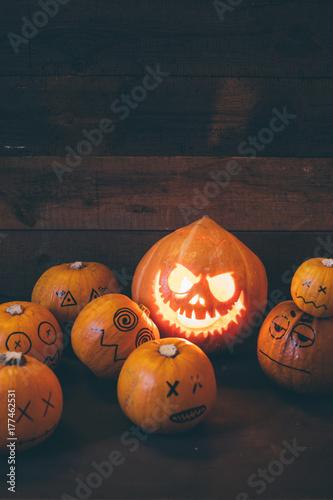Halloween pumpkins family