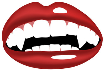 Vector illustration of vampire, smiling mouth with vampire teeth