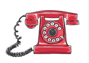 red Antique Rotary Dial Telephone hand drawn vector art illustration