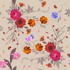 Seamless floral pattern with roses, cosmos, cactus and bell flower, australian daisy, virgin vine and branches with red berries. Beautiful vector illustration.
