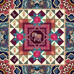 Beautiful blanket with cute cartoon elephant, funny monkeys, paisley and flowers in indian style. Vector illustration.