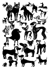 Set of vector Dogs. Ink doodle doggies. Hand drawn silhouettes.