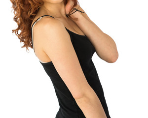 Profile of a model in a black tank top