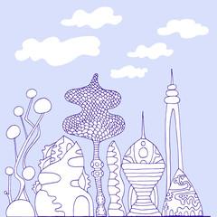 Monochrome, colorful fantastic city, cartoon sketch style, hand drawing futuristic city