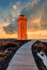 Sunset at the Svörtuloft lighthouse, Iceland