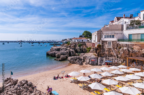 Strand Von Cascais Lissabon Portugal Stock Photo And Royalty Free