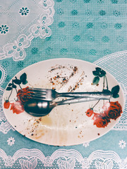 Dirty Plate on a Trashy Plastic Tablecloth