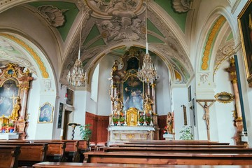 Little catholic church of St. John's interior in Salzburg, Austria