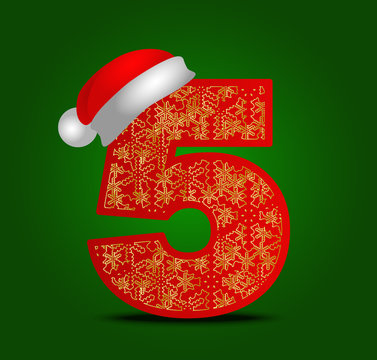 christmas numeral with snowflakes. Vector ornamental. Numeral 5 with santa hat