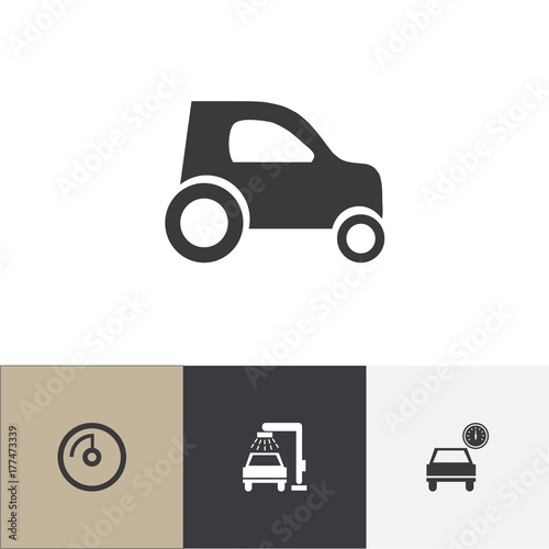 Set Of 4 Editable Vehicle Icons Includes Symbols Such As Speed