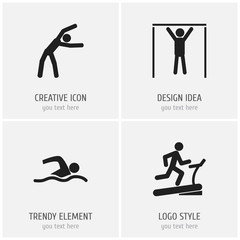 Set Of 4 Editable Fitness Icons. Includes Symbols Such As Racetrack Training, Exercise, Street Workout And More. Can Be Used For Web, Mobile, UI And Infographic Design.