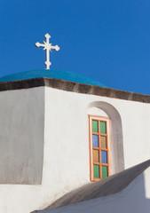View of blue dome in Santorini Island, Greece.