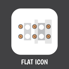 Vector Illustration Of Instruments Symbol On Connection Flat Icon. Premium Quality Isolated Terminal Block Element In Trendy Flat Style.