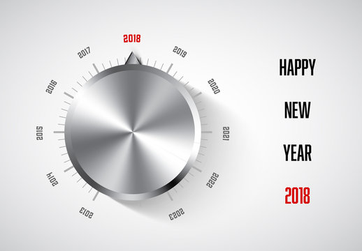 Happy New Year Web Banner with Volume Knob Illustration