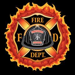Fire Department Cross Vintage Black Helmet Volunteer with Flames is an illustration of a vintage fireman or firefighter Maltese cross emblem with a black volunteer firefighter helmet and badge.