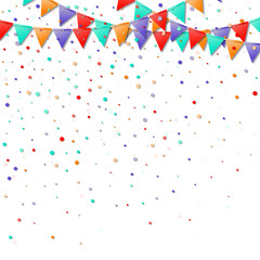 Bunting flags. Great celebration card. Bright colorful holiday decorations and confetti. Bunting flags vector illustration.