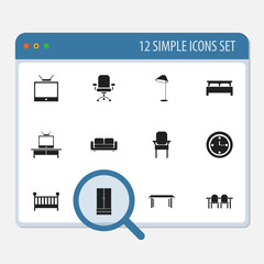 Set Of 12 Editable Interior Icons. Includes Symbols Such As Tv, Stool, Child Cot And More. Can Be Used For Web, Mobile, UI And Infographic Design.