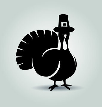 Vector silhouette of turkey. Thanksgiving day illustration