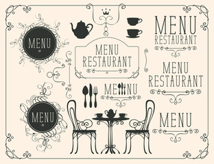 Vector set of images on the theme of menu for restaurant or cafe on a beige background in the art Nouveau style