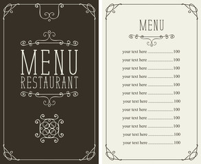 Vector menu for restaurant with curlicues and price list in curly frame in retro style