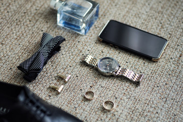 bow tie,shoes, wedding rings ,telephone,clock,glasses,the groom morning,businessman, wedding, man fashion, men's Accessories