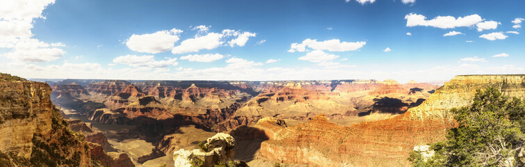 Panorama: view of the Skeleton, Mathew Point and Pipe Creek - Grand Canyon South Rim - Arizona, AZ, USA