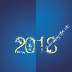 2018 Gold New Year firework blue vector