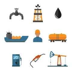 Mineral oil petroleum extraction production transportation factory logistic equipment vector icons illustration