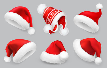 Santa Claus hat. Winter clothes. Christmas 3d realistic vector icon set Wall mural