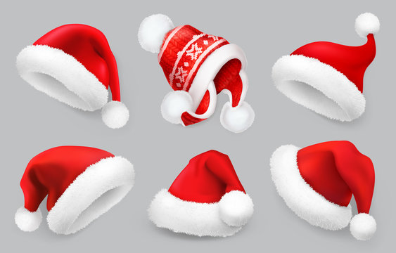 Santa Claus hat. Winter clothes. Christmas 3d realistic vector icon set