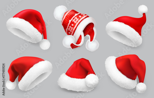 17c961efd24 Santa Claus hat. Winter clothes. Christmas 3d realistic vector icon ...