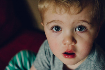 close-up of a two-year-old boy