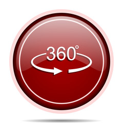 Panorama 360 red glossy round web icon. Circle isolated internet button for webdesign and smartphone applications.