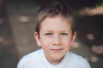 Portrait of a little boy. Horizontal headshot.