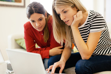 Young entrepreneur woman using laptop together on home office