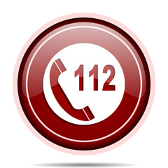 Emergency call red glossy round web icon. Circle isolated internet button for webdesign and smartphone applications.