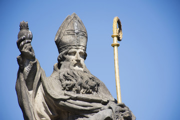 St. Augustinus or Augustine of Hippo Statue for Czechia people and foreigner travelers visit at Charles Bridge