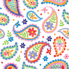 Vector seamless embroidery decorative floral pattern, ornament for textile decor. Bohemian handmade style background design.