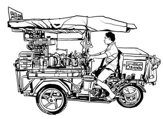 Printed roller blinds Art Studio Bangkok, Thailand. street food tricycle